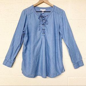 Motherhood maternity chambray lace up blouse M